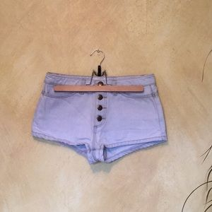 American Apparel light wash jean button up shorts